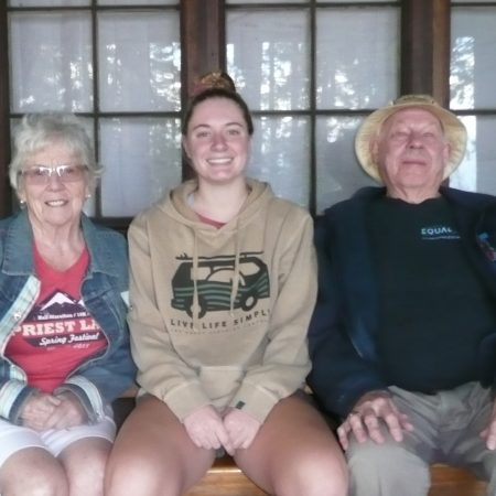 Paul and Jan Bastine talk with their granddaughter Kendall about Kalispell Bay.